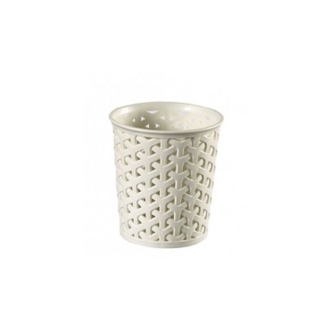 Curver Vintage White Rattan Bathroom Storage Pot